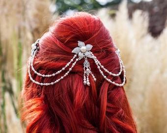 Swarovski pearl triple comb bridal headpiece/vintage drapes