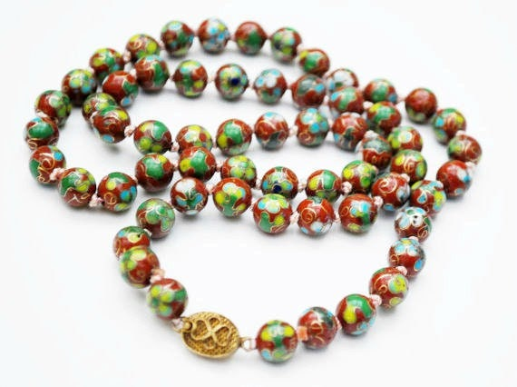 Cloisonne flower Bead Necklace - Rust Red Brown beads  green blue gold   - Enameling -  Hand knotted beads -Asian Chinese