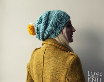 Slouchy Beanie with Pompom- Mint, Christmas Gift