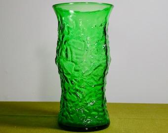 Vintage Green E. O. Brody Co Crinkle Glass Vase Cleveland Ohio