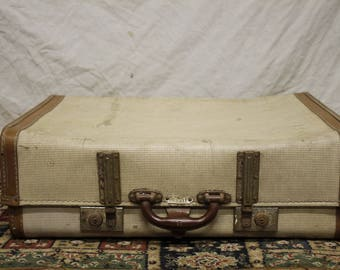 1950s vintage suitcase, travel case cream and brown leather