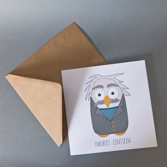 Owlbert einstein greeting card albert einstein