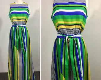 Green Striped Dress with Blue Yellow Navy & White - Sleeveless Maxi Dress, Pocket, Sash Tie Belt - Vintage Concept 70s Swirl - Medium Large