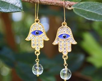 Hamsa Earrings, Gold and Rhinestone Hamsa Hand Earrings -Hamsa Hand Earrings, Kabbalah, Mitzvah, Hamsa Jewelry, Hamsa Earrings, Evil Eye