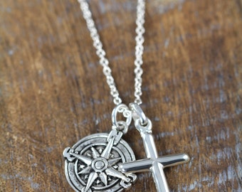 Cross Compass Necklace , First Communion Gift For Him,  Confirmation Gift, Compass Cross Pendant for Men, 925 Sterling Silver