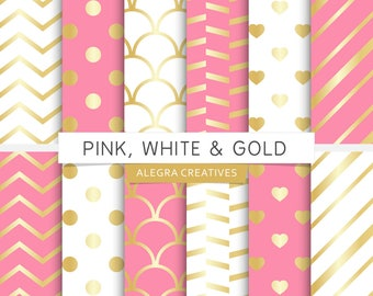 Pink, White & Gold digital paper, party, hot pink, white and gold, gold wedding, scrapbook papers (Instant Download)