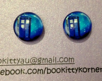 Doctor Who Tardis Stud Earrings with your choice of  Stainless Steel or Silvertone Posts 12mm