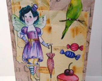 The little fairy greeting card handmade 21cm x 15cm