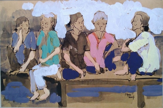 """CAN THO STREETS 14x9.5"""" gouache on paper, live painting, Cần Thơ Province, original by Nguyen Ly Phuong Ngoc"""