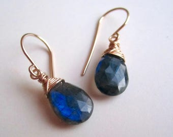 Labradorite wire wrapped drop earrings on gold filled wire