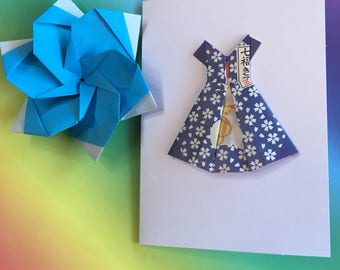 Origami greeting card - Hello Kitty paper dress (blue)