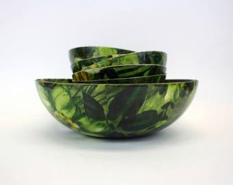 Vintage 1960s Mod Floral Fiberglass Salad Bowls, Set of 6 (E8819)