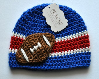Newborn Football Hat - Royal Blue, Red, and White Baby Football Hat