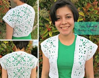 Cropped Motif Cardigan - Crochet Pattern