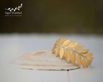 Greek Cuff Bracelet, Gold Arm Cuff, Wedding Bracelet, Leaf Bracelet, Upper Cuff, Gold Leaf Bracelet, Gold Arm Bangle, Boho Cuff Bracelet