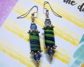 Green, Blue and Purple Striped Lampwork Glass Earrings (2861)