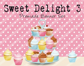 "Banner Set - Shop banner set - Premade Banner Set - Graphic Banners - Facebook Cover - Avatars - Bisiness Card - ""Sweet Delights 3"""