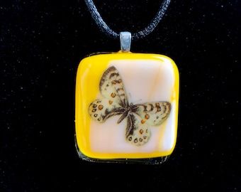 Butterfly Yellow Fused Glass Pendant on Black Satin Cord Old Timey Vintage Antique Looking 7012