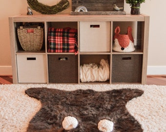 Nursery Rug / Bear Rug / woodland nursery / Baby room decor /  animal playmat  / ClaraLoo