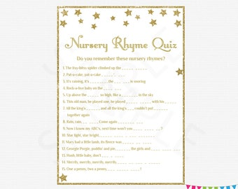 Baby Shower Games Bundle Nursery Rhyme Quiz Bingo Name The