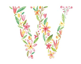 W Uppercase w | Letter, typographic, alphabet. Wall art, print, gift, watercolour, floral