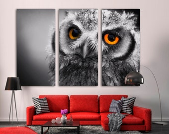 """Large Canvas Panel Split - Northern Pygmy Owl Canvas Print, Stretched on 1.5"""" deep frames - Black and White + colored eyes bird photography."""