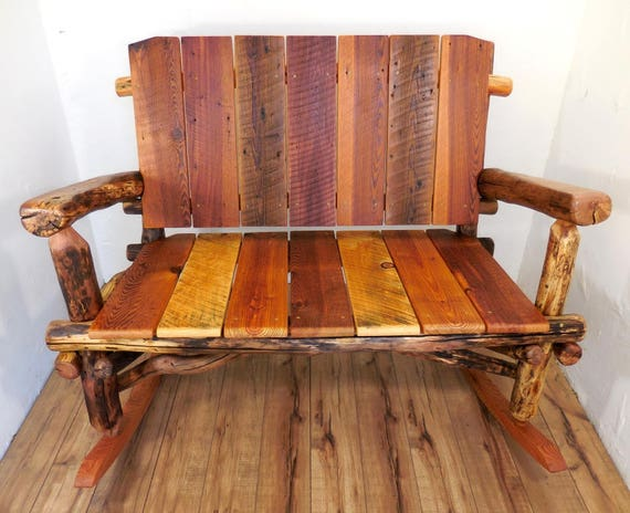 Wooden Rocking Chair Reclaimed Wood Bench Rustic Furniture