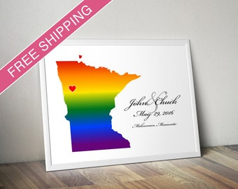 Minnesota State Rainbow Map Art Print - Personalized LGBTQ Wedding Gift, Engagement Gift, Wedding Guestbook