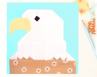 Bald Eagle bird animal 4th of july PDF Quilt Block Pattern -  Includes instructions for 6 inch and 12 inch Finished Blocks