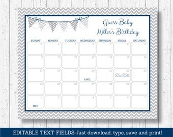 Cute Chevron Baby Due Date Calendar / Chevron Pattern / Navy Blue & Grey / Guess The Due Date Game / INSTANT DOWNLOAD Editable PDF A145