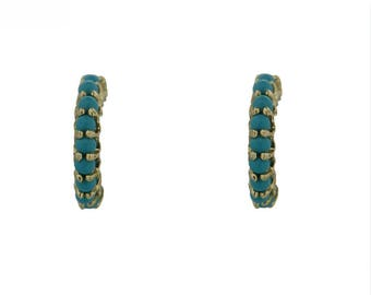 18K Yellow Gold Small Turquoise Half Hoops Earrings (11mm)