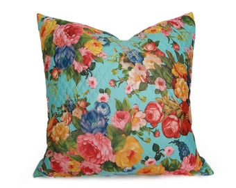 Blue Cottage Pillows, Colorful Floral Pillow, Spring Pillow, Blue Throw Pillow, Mothers Day Gift, Turquoise, Pink Yellow Green, 12x18, 18x18