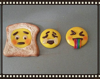 Emoji set of 3 fridge magnets polymer clay . nice large size fimo faces. Polymer clay toast rainbow and sad.