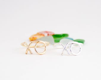 Simple XO Ring, Handmade, Minimalist, Dainty, Love, Hugs and Kisses, Sterling Silver, 14k Gold Filled, Simply Me Jewelry XO Ring,SMJRG216