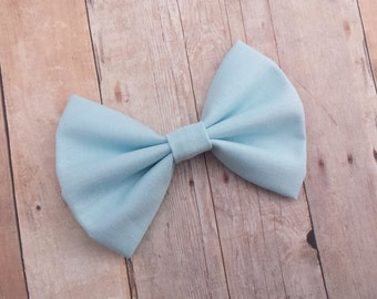 Baby Pastel Blue Solid Fabric Hair Bow Clip or Headband / Pastel Blue Hair Bow / Baby Blue Hair Bow Clip /Light Blue Bow Clip / Bow Headband