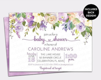 JUNE SALE Purple Peony Baby Shower Invitation - Floral Watercolor Lilac Baby Shower Invite - Lavender Floral Wall Baby Sprinkle personalized