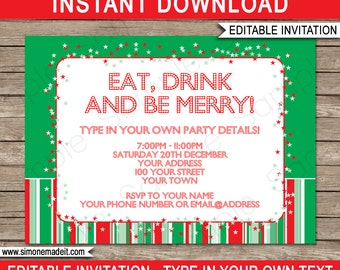 Christmas Invitation Template - Christmas Party Invitation - Christmas Open House, INSTANT DOWNLOAD with EDITABLE text