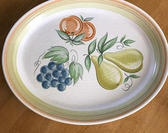 Vintage Franciscan large fruit earthenware  platter retro MCM 60s
