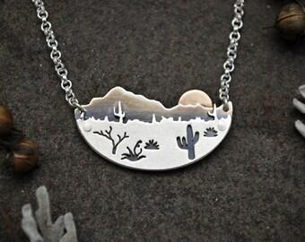 Desert Sun Necklace - Silver and 14K Gold Metalwork - Arizona Cactus Landscape - Contemporary Southwestern Boho Jewelry - Mixed Metal