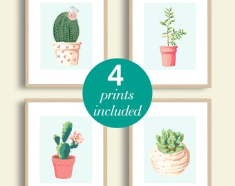 Cactus Illustration Printable SET OF 4 | Instant Download | Cactus Wall Art | Succulent Home Decor | Instant Download | 8x10