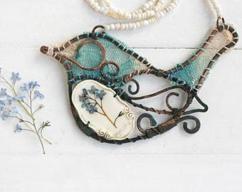 Bird Necklace, Real Flower Necklace, Hand Forged Copper Necklace,  Real Flower Jewelry, Botanical Jewelry