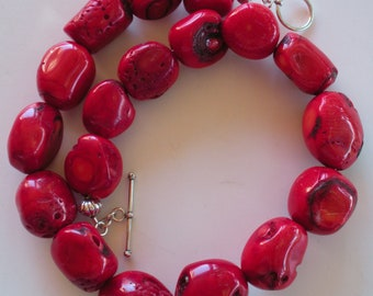 Bright Red Bamboo Coral Necklace