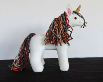 Plush Mini Cream and Multi-colored Unicorn