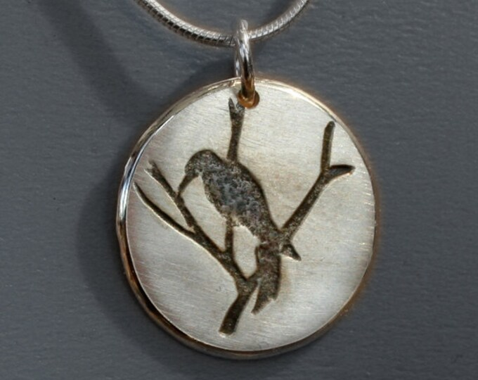 Silver Jewelry, Silver Jewellery, Silver Pendant, Tree Pendant, Bird Jewelry, Woodpecker Pendant.