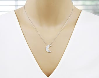 925 Sterling Silver Crescent Moon Necklace Bridesmaid Necklace Bridesmaid Gift Dainty and Delicate Everyday Necklace Birthday Gift