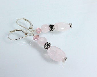 Rose Quartz and Sterling Silver Earrings