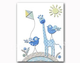 Blue giraffe, blue nursery art, nursery decor, Baby boy nursery wall art, children room decor kids art baby art kids artwork play room decor