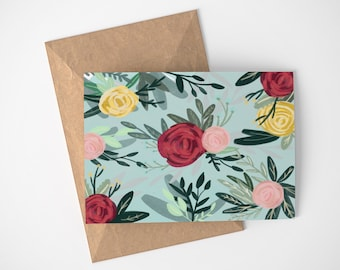 Blue Floral Card, Garden Card, Pretty Note Cards, Thank You Cards