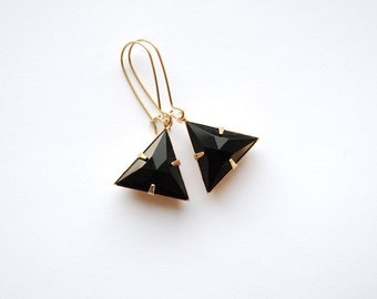 Midnight Black Triangle Earrings. Rhinestone Dangles. Geometric Jewelry. Sexy Chic Long Drops. Big Bold Party Earrings. FREE Shipping in US