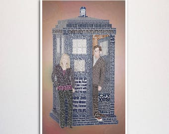 """Doctor Who: Tenth Doctor word art print - 11x17"""""""